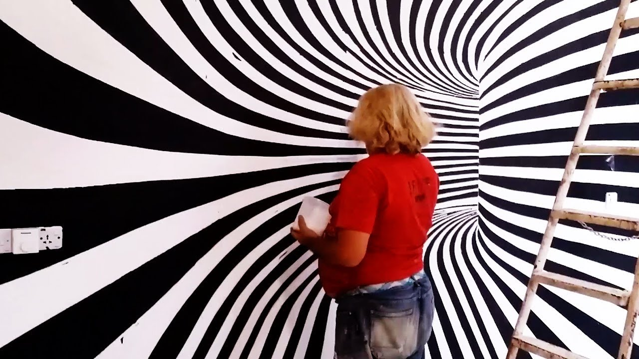 الرسام علي السراي الرسم على الجدران رسم شكل ثلاثي الابعاد بطريقة احترافية Youtube