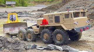 STRONG RC TRUCKS! BIGGEST RC CONSTRUCTION SITE WORK DAY! RC VEHICLES IN DANGER! RC IN MUD