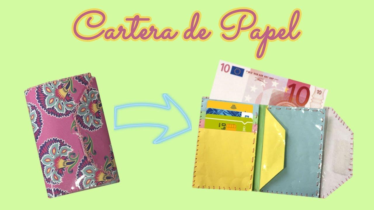 359acf407 DIY Como hacer CARTERA MONEDERO de PAPEL súper RESISTENTE / Manualidad  RECICLANDO Papel