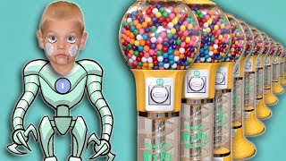 My Brother Is A Robot To Get Gum From Giant GumBall Machine! Pretend Robot With Gum Ball & Quarters