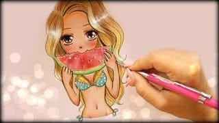 ❤ Drawing Tutorial - How to Draw a Summer Girl Eating Watermelon ❤