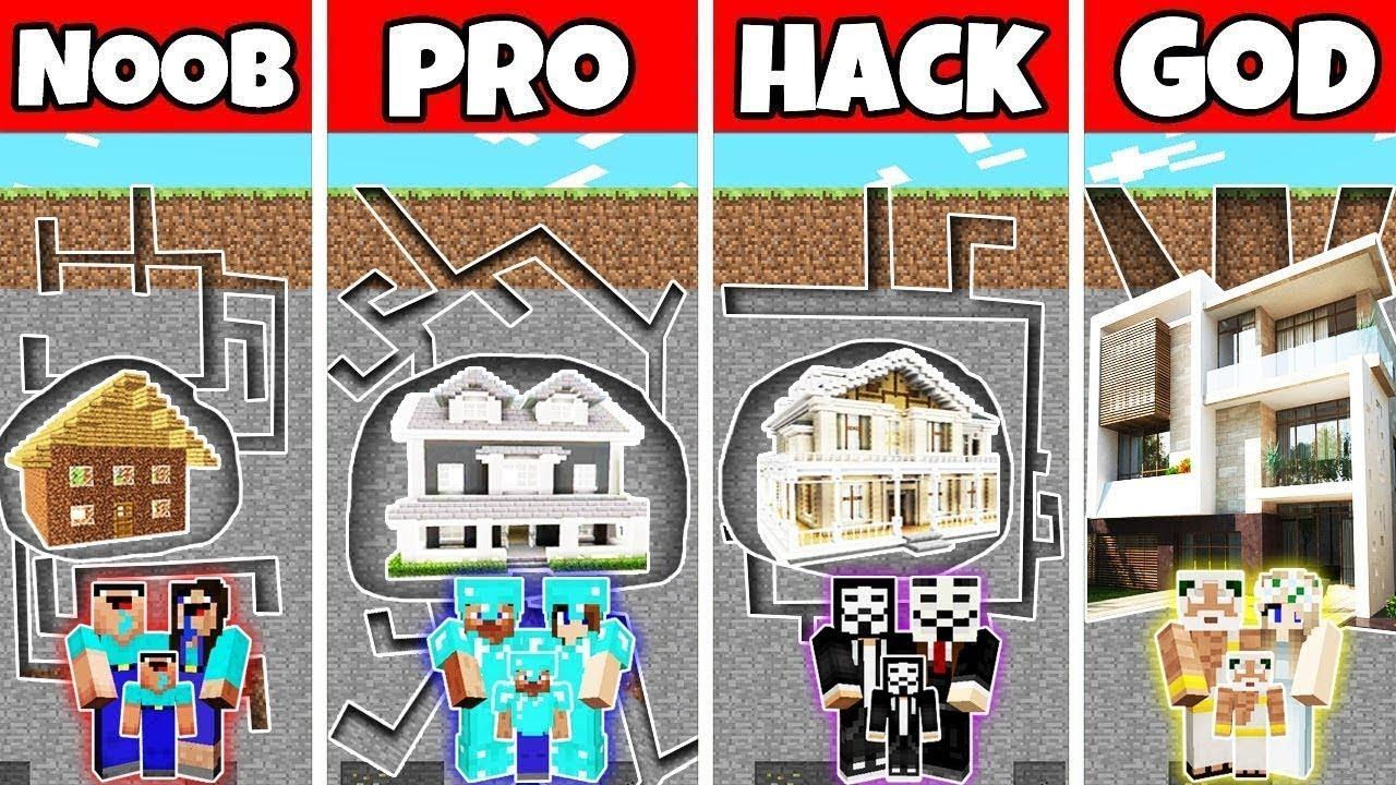 Minecraft: FAMILY UNDERGROUND HOUSE BUILD CHALLENGE - NOOB vs PRO vs HACKER vs GOD in Minecraft