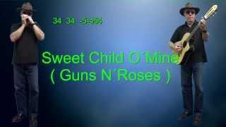 nº121 Sweet Child O´Mine (Guns N´Roses) harmonica ( Db ) TAB+CHORDS GUITAR Mundharmonika