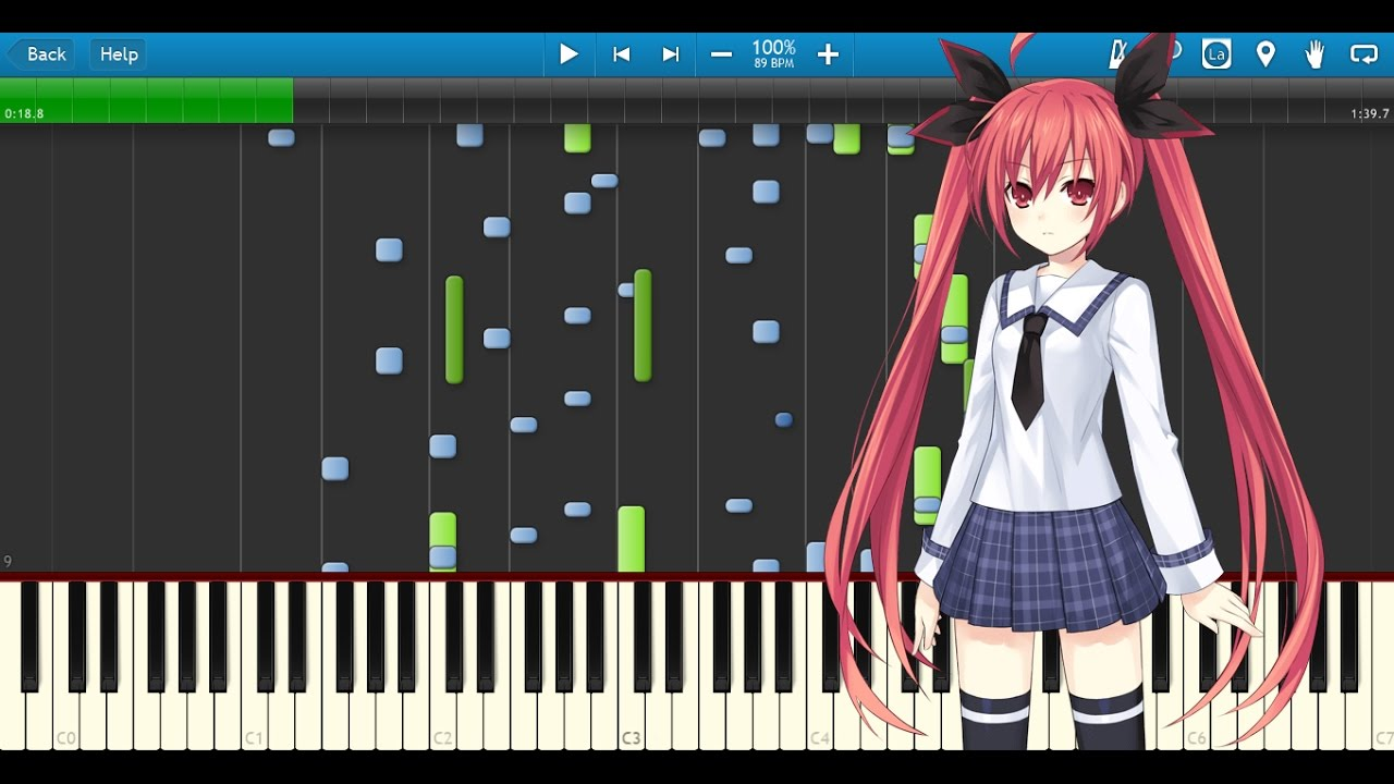 Date A Live OP Piano Strings Synthesia Tutorial Midi File Anime Pianist Mynodex