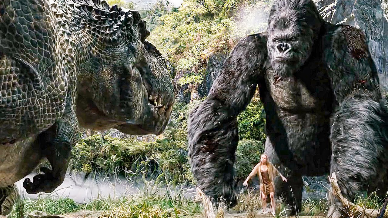 Kong vs T-Rex Fight Scene - KING KONG (2005) Movie Clip