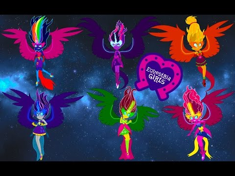 My Little Pony Equestria Girls Transforms - Mane 7 Midnight Demons Form - Coloring Videos For Kids