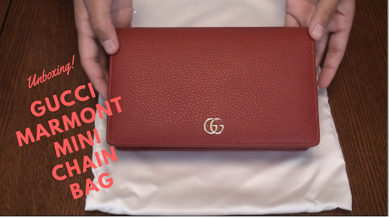 a5bce4fe41581 Gucci Marmont Leather Mini Chain Bag Unboxing - YouTube