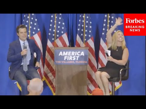 "Matt Gaetz And Marjorie Taylor Greene Slam AOC, CNN, Mitt Romney At ""America First"" Rally"