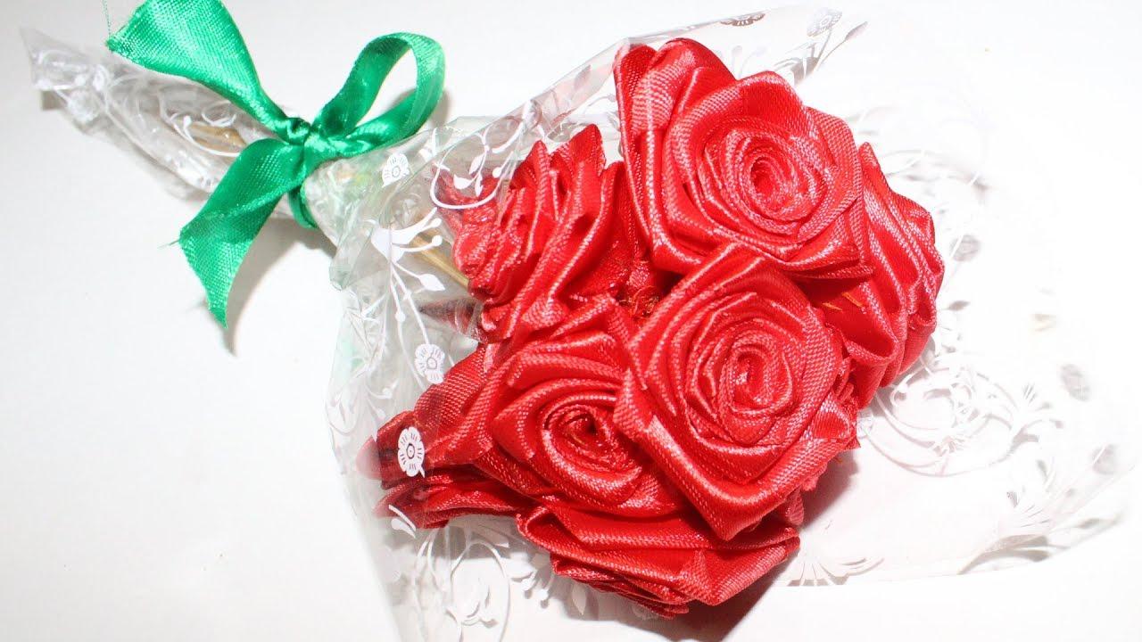 Satin Ribbon Rose Bouquet Tutorial | Satin Ribbon Craft Ideas - YouTube