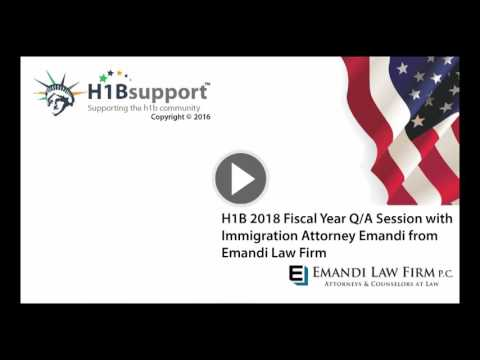 H1B Visa Sponsorship FY 2017 Conference call with Attorney Emandi