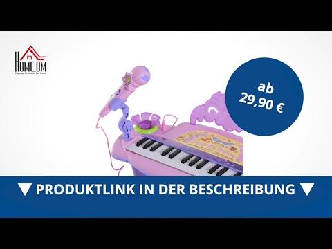 Homcom Kinder Mini-Klavier MP3 Inkl. Hocker 32 Tasten Rosa - Direkt Kaufen!