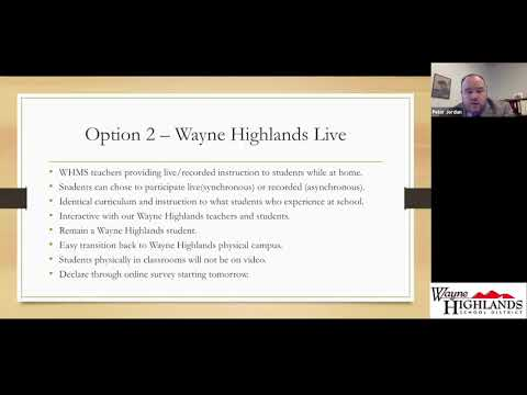 COVID 19 Wayne Highlands Middle School Q&A Regarding Opening Schools