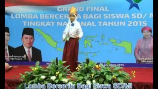 Juara Harapan I Lomba bercerita SD/MI Tingkat Nasional tahun 2015 Alya Ghefira Nur A