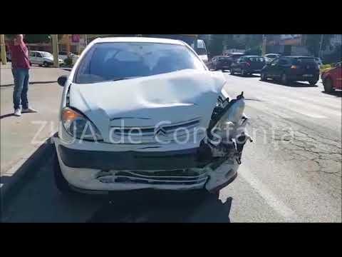Imagini de la eveniment. Accident rutier în zona Boema din municipiul Constanța