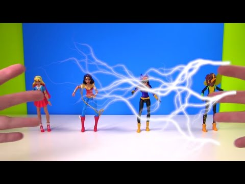Playing the Disk Drop Game with DC Super Hero Girls