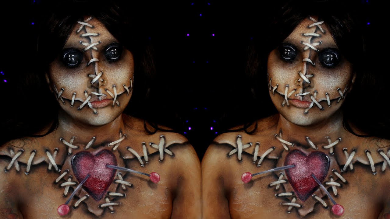 voodoo doll halloween makeup tutorial - youtube