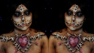 Voodoo Doll Halloween Makeup Tutorial | Jordan Hanz / Alex Faction