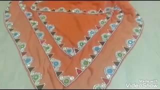 मारवाड़ी ओएना डिजाइन // stone and kundan work apply on saree //new design latest //