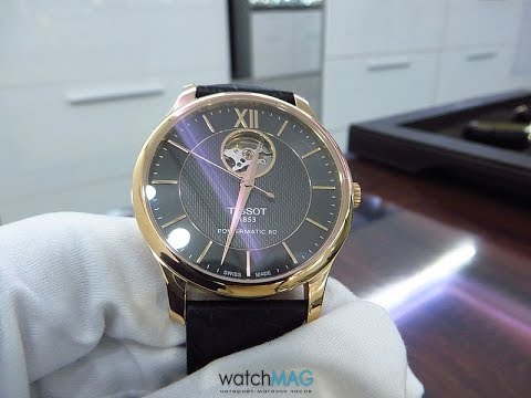 4facee3dd Tissot Tradition Powermatic 80 Open Heart T063.907.36.068.00 - YouTube