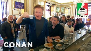"""Conan drinks too much coffee and Jordan makes his mustachioed soap opera debut in """"Un posto al sole.""""  More CONAN @ http://teamcoco.com/video  Team Coco is the official YouTube channel of late night host Conan O'Brien, CONAN on TBS & TeamCoco.com. Subscribe now to be updated on the latest videos: http://bit.ly/W5wt5D  For Full Episodes of CONAN on TBS, visit http://teamcoco.com/video  Get Social With Team Coco: On Facebook: https://www.facebook.com/TeamCoco On Google+: https://plus.google.com/+TeamCoco/ On Twitter: http://twitter.com/TeamCoco On Tumblr: http://teamcoco.tumblr.com On YouTube: http://youtube.com/teamcoco  Follow Conan O'Brien on Twitter: http://twitter.com/ConanOBrien"""