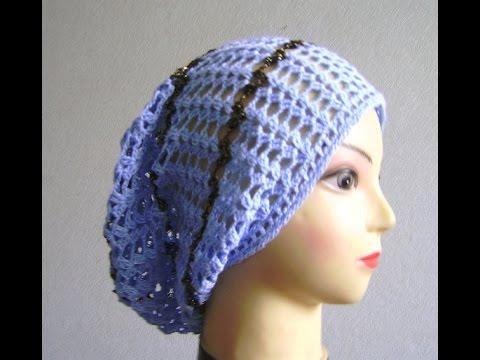 как связать простую летнюю шапочку бини мешок крючком вязание с