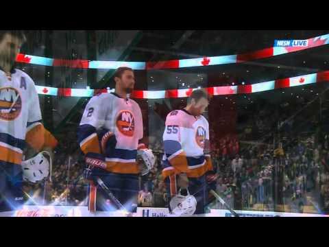 Rene Rancourt sings both anthems prior to the Bruins - Islanders game 10/23