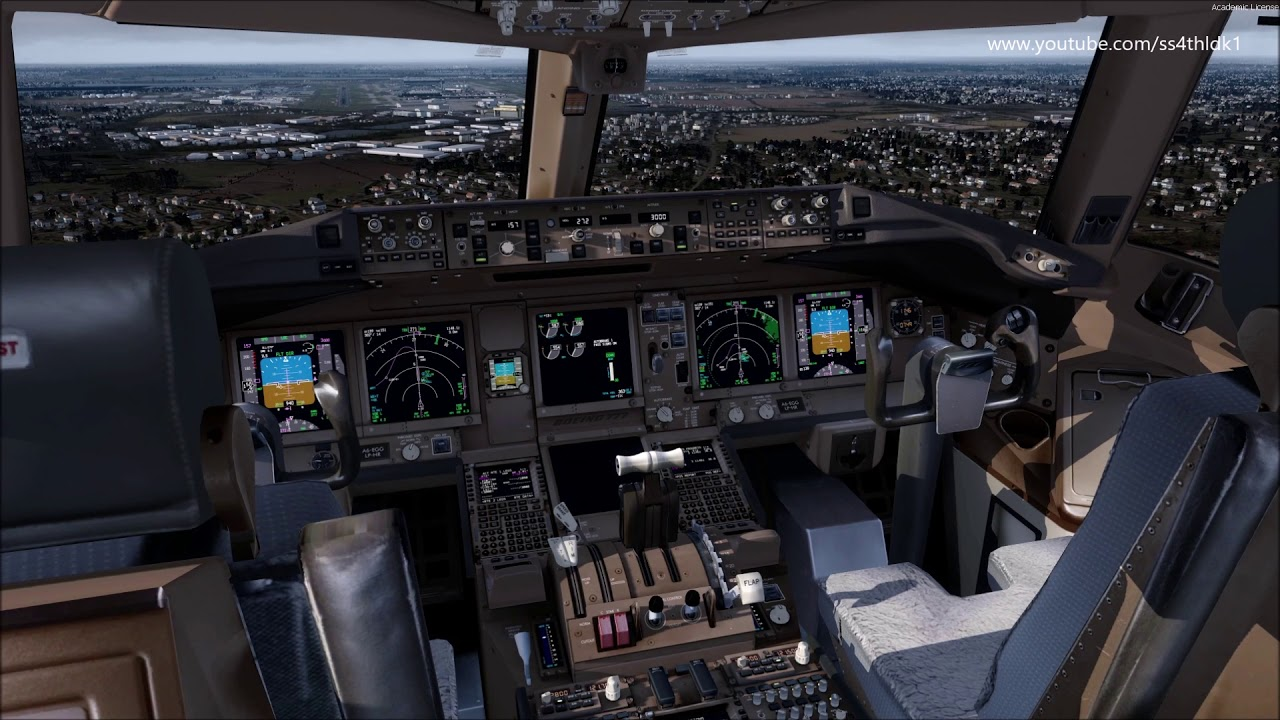P3D v4 4 PMDG 777 Emirates 5 landing at Heathrow (London) with varous view