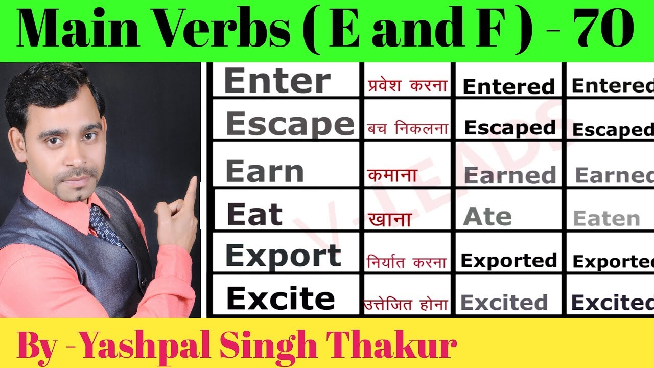 List of 70 Main verbs with Hindi meaning | related E and F | by Yashpal sir