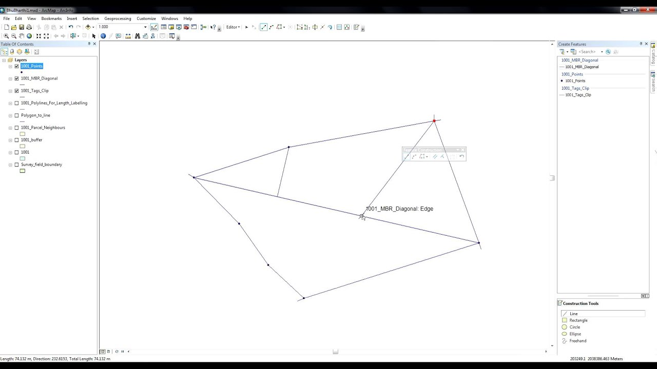 ArcGIS 10 2 - Editor - Draw perpendicular lines from vertices to the  diagonal of a polygon