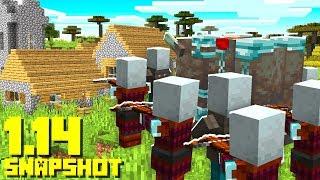 Minecraft 1.14 Snapshot: Pillager Raid SURVIVAL CHALLENGE!