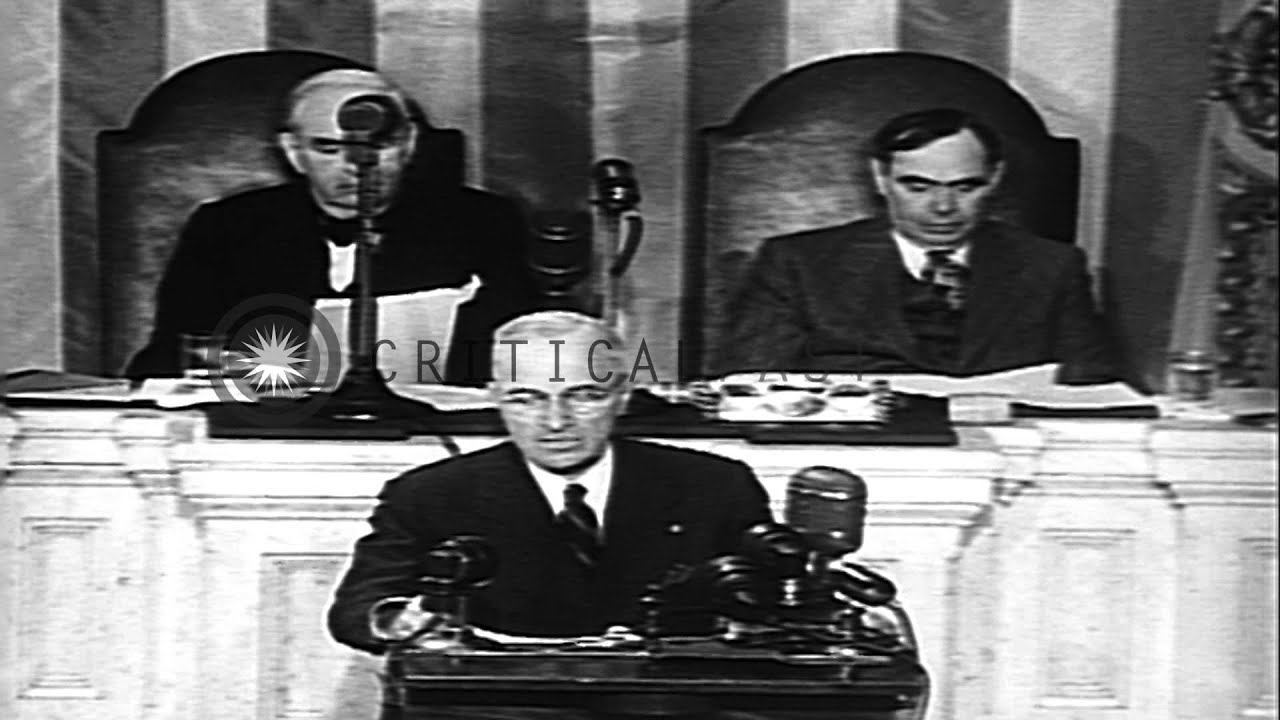 United States President Harry S. Truman addresses the Joint ...