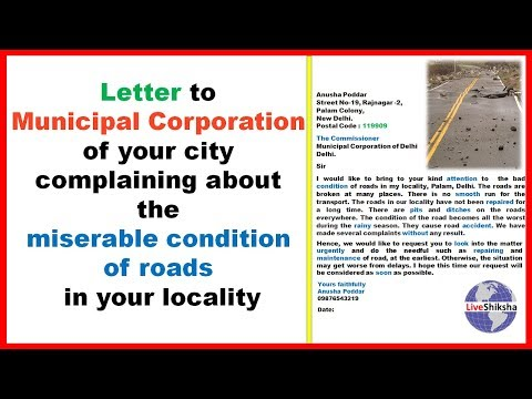 Write A Letter To Municipal Commissioner For Road Repair