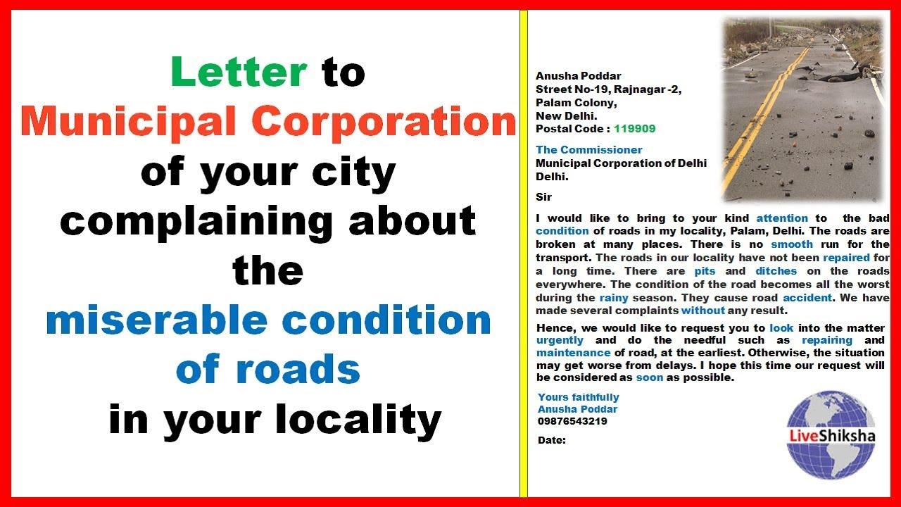 Write A Letter To Municipal Commissioner For Road Repair Youtube