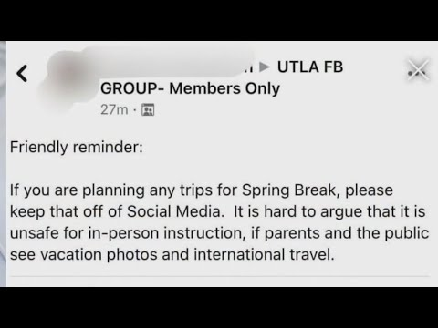 Private Facebook group warns teachers to not post vacation pics amid UTLA's push for safe return to
