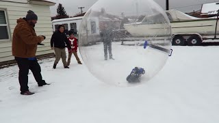 RC Truck in ACTION! Traxxas Slash 4x4 Drifting in Snow and Giant Bubble Ball!