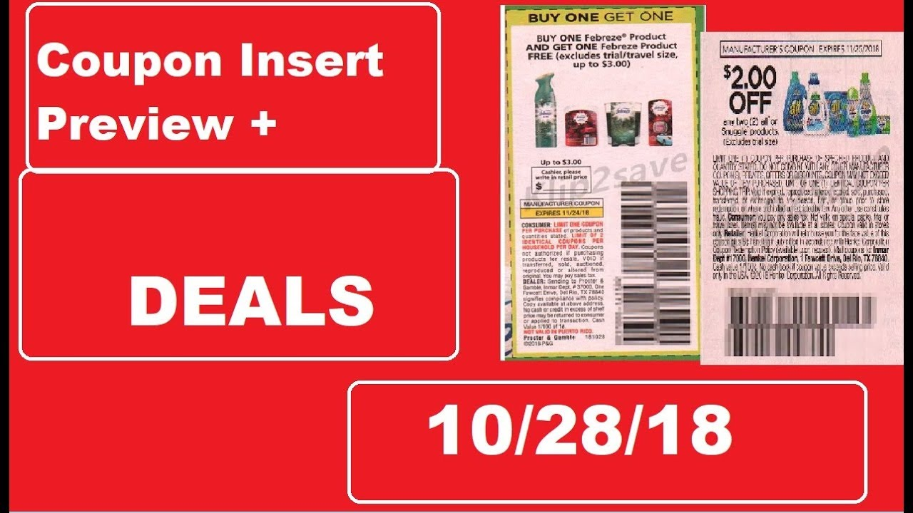 Buy Manufacturer Coupons >> Coupon Insert Preview 10 28 18 1 Smartsource 1 P G Brandsaver And 1 Retailmenot