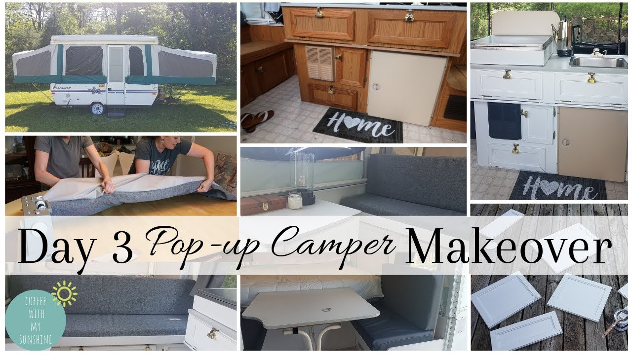 popup camper diy remodel before after tour cabinets curtains cushion makeover glamping decor