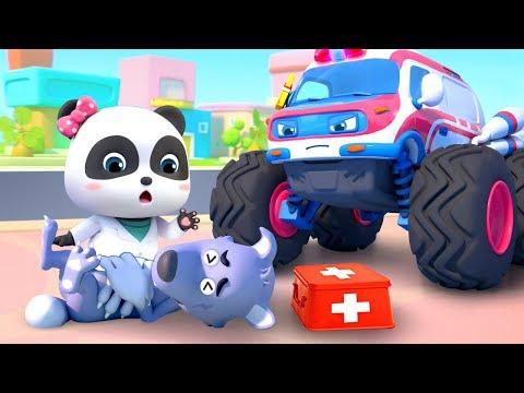 Ambulancia de Monstuo y El Lobo Malo   Canción Infantil   Auto de Monstruo   BabyBus Español