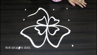 Creative muggulu with 4 dots    easy rangoli designs    Beautiful kolam    Latest muggulu
