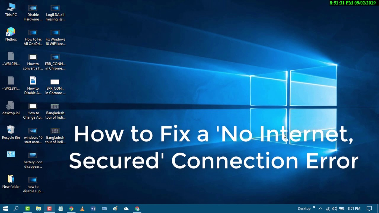 no internet secured windows 10 - YouTube