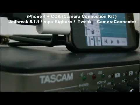 Iphone 4 + CCK (Camera Connection Kit) Rec 8 tracks - Tascam US ...