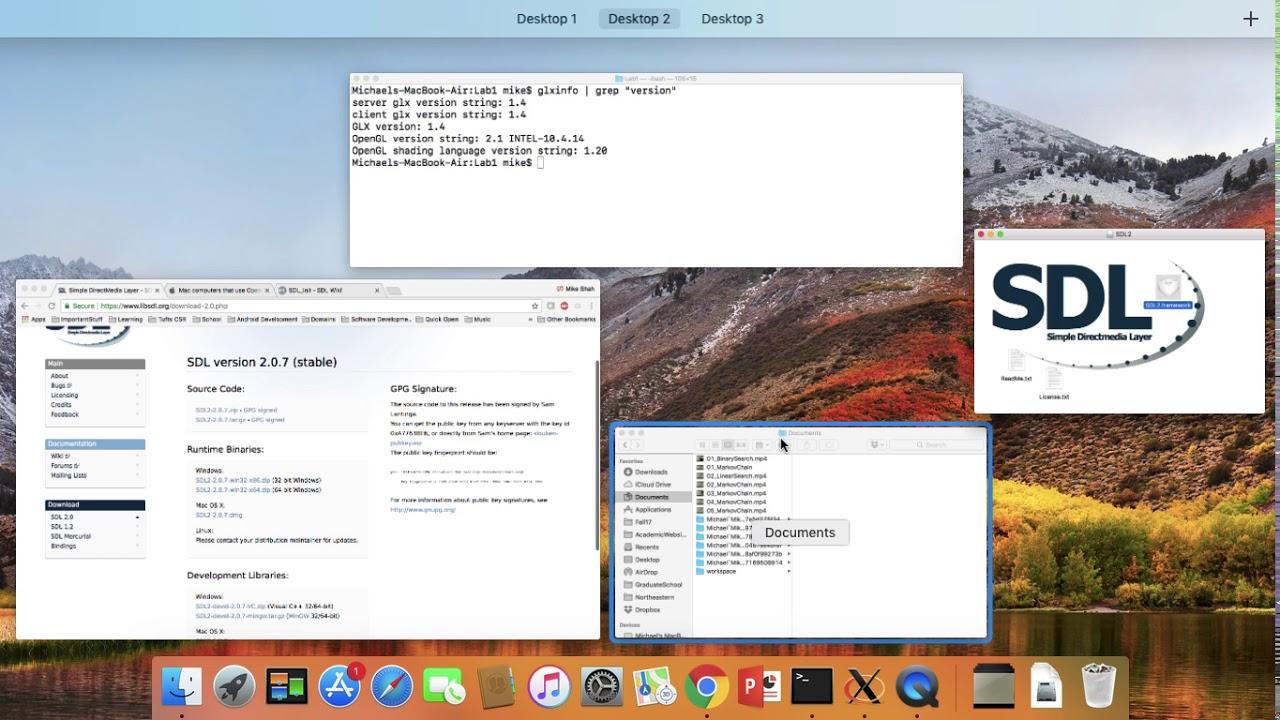 SDL2 Mac Terminal Setup with GLAD