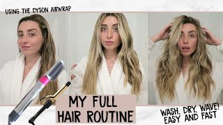 MY FULL EASY HAIR ROUTINE! SMOOTH SLEEK DYSON BLOWOUT + WAVES!   Lauren Elizabeth