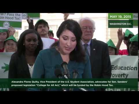 U.S. Student Association VP: College for All Act Funded by the Robin Hood Tax