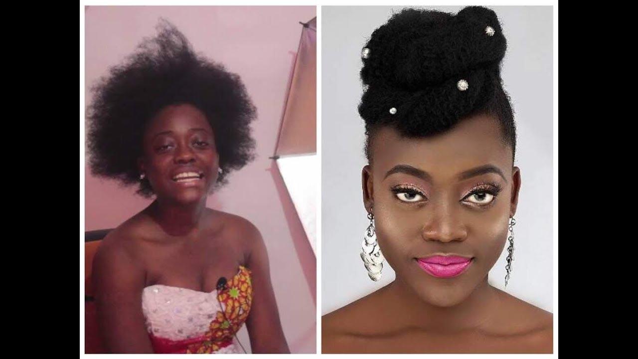 Ghanaian Traditional Bridal Makeup Natural Hair Styling For Darkskin Headmistress Youtube