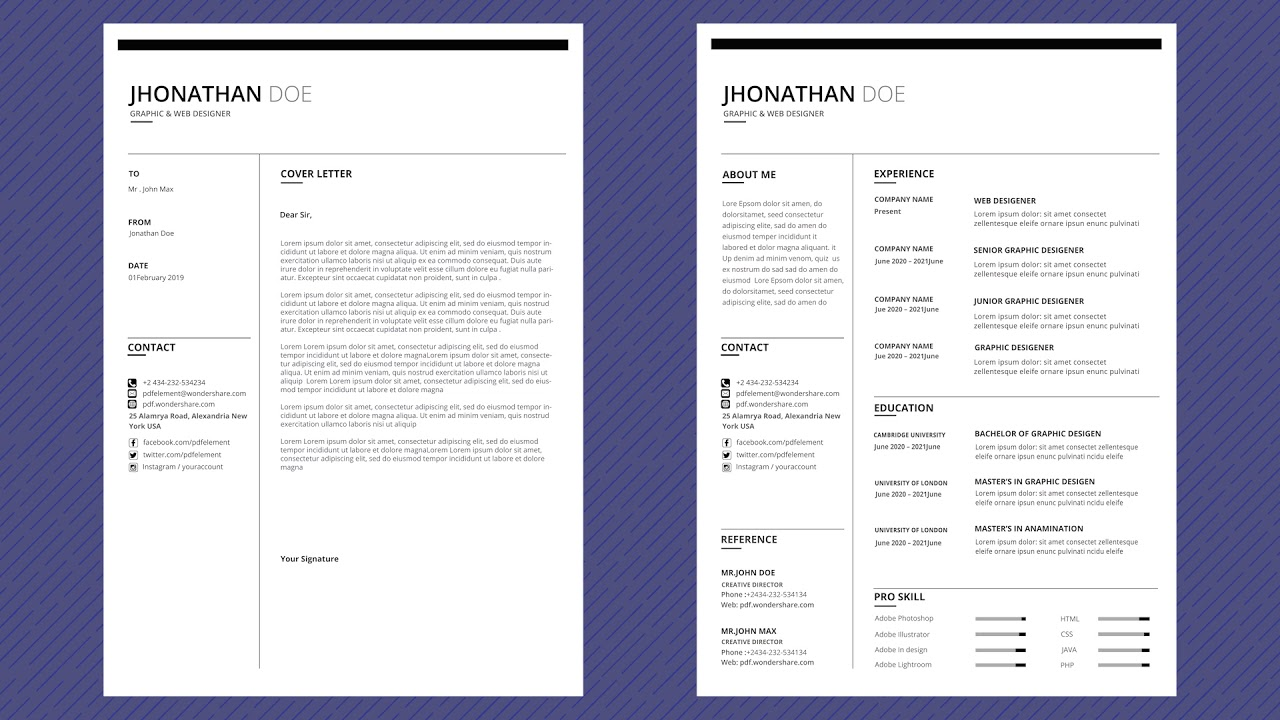 Free Professional Resume Template  Modern Line  Youtube