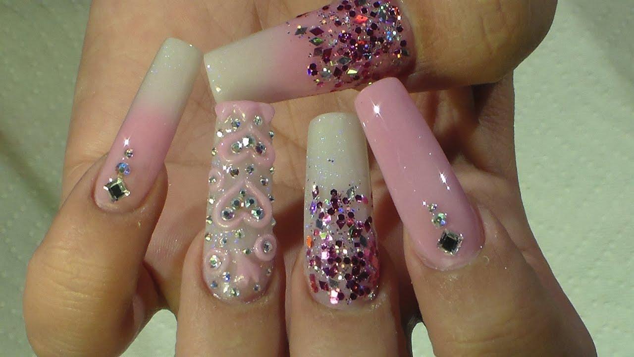 San valentin nail design natos nails u as acrilicas for Decoracion 3d unas acrilicas