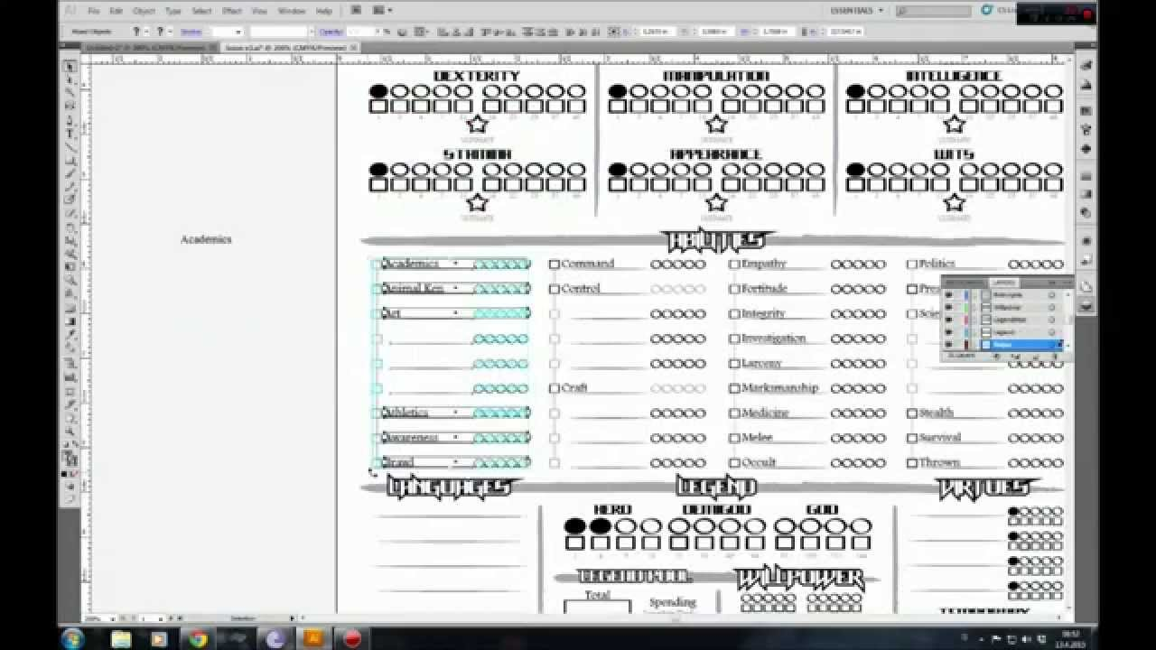 My Rpg Vlog 04 Character Sheet For Scion Part 1 Youtube