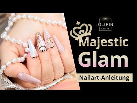 """Nailart: """"Majestic Glam"""" mit dem neuen Jolifin LAVENI Aurora Mirror Pigment - pink super-fine"""