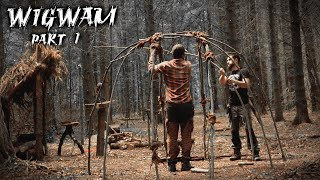 Building A Wigwam With Natural Materials | Bushcraft Shelter  Part 1